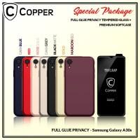 Samsung A30s - Paket Bundling Tempered Glass Privacy Dan Softcase
