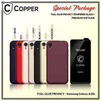 Samsung A20s - Paket Bundling Tempered Glass Privacy Dan Softcase
