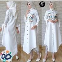 TUNIK ANISA PUTIH [Gamis 0121] SHF Baju Gamis Wanita Terbaru