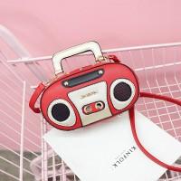 Silmi Women Radio Stereo Shoulder Bag Rivet Cute Crossbody