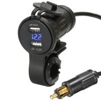 Silmi 12V-24V 5V 4.2A LED Dual Usb Charger Volt Meterr Socket For