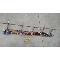 kapstok gantungan baju kamar mandi 5 kait stainless tebal 45cm BL6