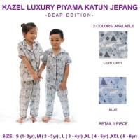 Kazel Piyama Luxury Katun Jepang Bear Blue / Piyama Anak