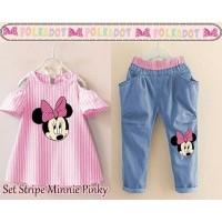 Stripe minnie pinky [Baju Anak 0109]