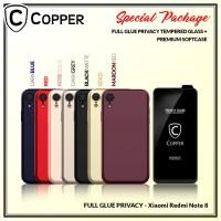 Redmi Note 8 - Paket Bundling Tempered Glass Privacy Dan Softcase