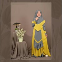 Zitha Kid Syari Grey [Baju Muslim Anak 0152] SKF Baju Gamis Anak