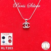 Kalung Liontin Fashion Double CC Perak Silver 925 Cassandra