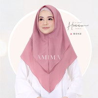 AMIMA HAWWA Khimar Diamond Georgette Polos Double Layer Rose