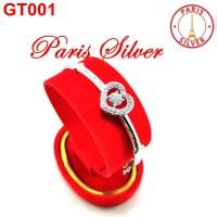 Gelang tangan bangkok hati love permata perak 925 silver wanita bangle