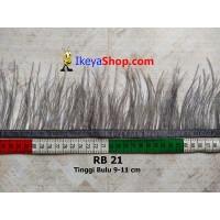 Bulu Single Ostrich Pendek Abu Abu Tua (RB 21)