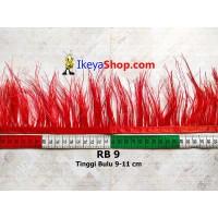 Bulu Single Ostrich Pendek Merah (RB 9)