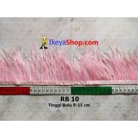 Bulu Single Ostrich Pendek Pink Cerah (RB 10)