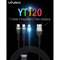 Kabel data Vivan YT120 3in1 for iphone micro dan type c 1.2m kabel max
