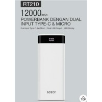 Powerbank Robot RT210 12000 mAh power bank 2 usb port original