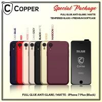 iPhone 7 Plus - Paket Bundling Tempered Glass Glare dan Softcase