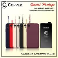 iPhone X/Xs - Paket Bundling Tempered Glass Glare dan Softcase