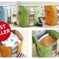 Cloth Storage Bag Box Tempat Penyimpanan Pakaian Selimut Bed Cover - Biru Muda