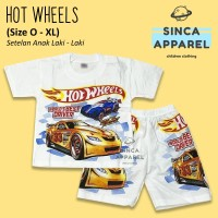Baju Setelan Anak Cowok Laki Laki [Set Kaos Celana] - Hot Wheels