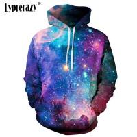 Sweater Kaos Hoodie Lengan Panjang Casual Print Langit Bintang 3D untu
