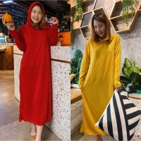 damai fashion jakarta- baju long dress wanita HOODIE BASIC MUTIA -
