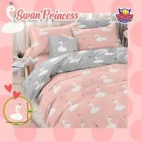 Bedcover Set Katun Motif Swan Princess/ King 180x200x30
