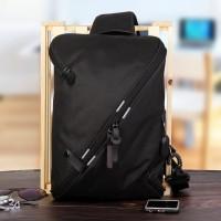 Tas Selempang Slempang FSA Kanvas Waterproof Sling Bag USB & Earphone - Hitam TSFKV