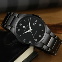 Wwoor 8830 simple Dan elegan black jam tangan pria anti air original