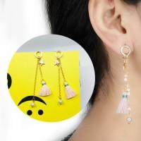 Long Pearl Stars Small Tassel Earrings 033231r