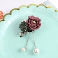 Flower Pearl Brooch Pin 0322CCr