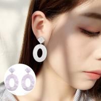 Oval Acrylic Earrings 037C4Ar