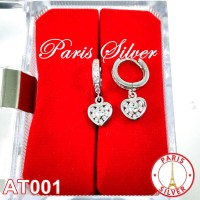 Anting Jepit love hati permata perak 925 silver lapis emas putih