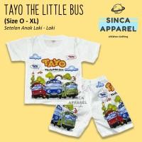 Baju Setelan Anak Cowok Laki Laki [Set Kaos Celana] - Tayo Little Bus