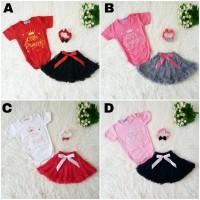 Baju Pesta Jumper Bayi Baby Perempuan Little Princess Set Bandana Rok