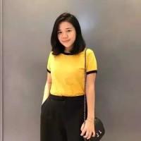 Ringer Tee /Kaos Polos Wanita Lengan Pendek / T-shirt Murah Size L