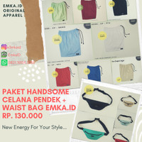Paket Handsome celana pendek + waist bag EmkaID