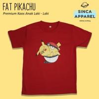 Baju Kaos Anak Laki - Laki Fat Pikachu Pokemon Lengan Pendek Premium