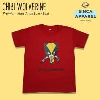 Baju Kaos Anak Laki - Laki Chibi Wolverine Lengan Pendek Premium