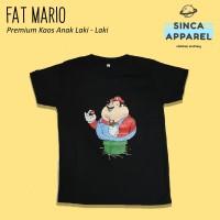 Baju Kaos Anak Laki - Laki Fat Mario Bros Lengan Pendek Premium