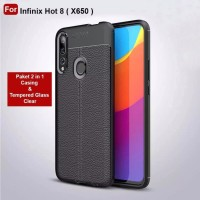 Case infinix Hot 8 Softcase Auto Focus Leather Case Tempered Glass