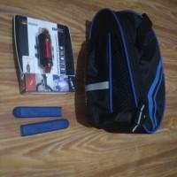 Paket Tas sepeda lipat lampu belakang usb karet handle sepeda biru