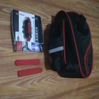 Paket Tas sepeda lipat lampu belakang usb karet handle sepeda merah