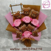 rangkaian bunga mawar flanel dan boneka beruang teddy bear kado unik
