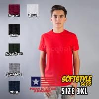 Kaos Polos New States Apparel Soft Tee 3600 (SIZE 3XL)