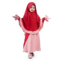 BAJUYULI - Gamis Anak Perempuan Syar'i Rempel Diagonal - Marun LSRN01