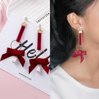 Fabric Ribbon Pearl Earrings 0300F6r