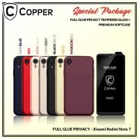 Redmi Note 7 - Paket Bundling Tempered Glass Privacy Dan Softcase