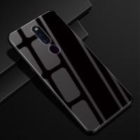 OPPO F11 F11 Pro Hard Case Desain Glossy Mewah Bahan Kaca Warna Polos