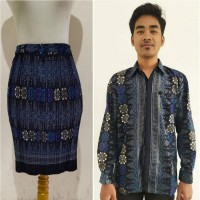 Couple Rok Plisket Pendek Jumbo Sami dan Kemeja Modern Batik Pria