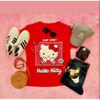 Kaos Wanita hello kitty maroon t-shirt tee tumblr kaos adem