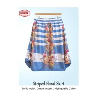 SALE Rok A-line, Striped Floral Skirt, Karet pinggang, Bigsize Jumbo